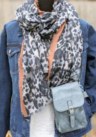 Sjaal Stripe Leopard - Zwart