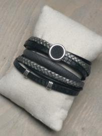 Wikkelarmband Zwart - Grijs