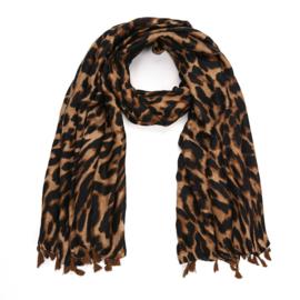 Sjaal Leopard Tassel - Bruin