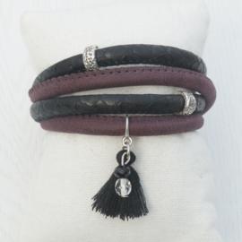 Wikkelarmband Zwart - Bordeax
