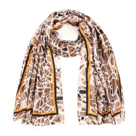 Sjaal Geometric Silk - Beige