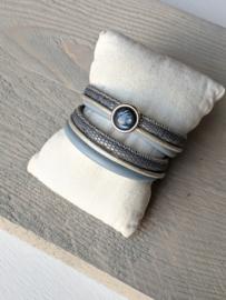 Wikkelarmband Chic Stone - Blauw Grijs