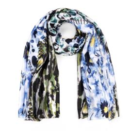 Sjaal Silk Flower - Blauw