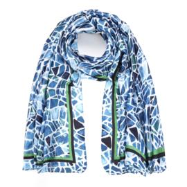 Sjaal Geometric Silk - Blauw