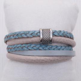 Wikkelarmband Blauw - Beige