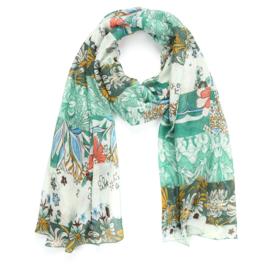 Sjaal Beautiful Flowers - Groen