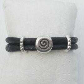Wikkelarmband Zwart - Print