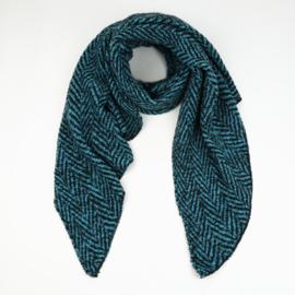 Sjaal Warm Herringbone - Blauw