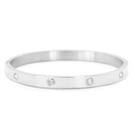 RVS Bangle Diamonds - Zilver