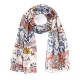 Sjaal Beautiful Flowers - Kaki