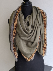 Sjaal Exclusive Fake Fur Leopard - Groen