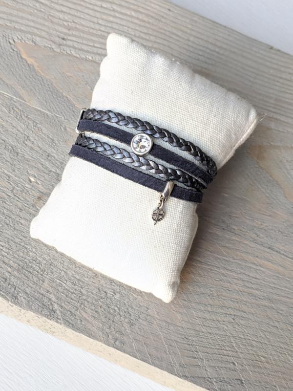Armband Shiny Clover - Blauw Grijs