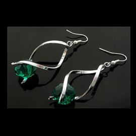 Oorbellen met glaskraal smaragdgroen - S10402