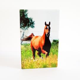 Sigarettendoosje wit met bruin paard - 111874
