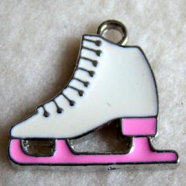 Bedel schaats wit met roze - S10373