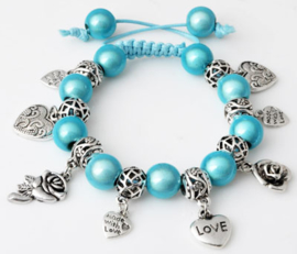 Shamballa armband met bedels blauw - S10806