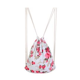 Rugtas wit met rozerode bloemenprint - D13390