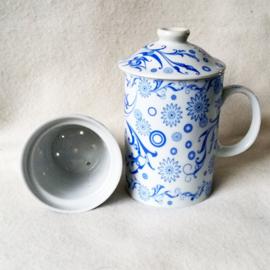 Theemok wit met blauw - D12485