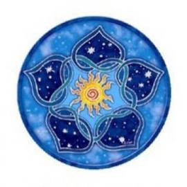 Raamsticker dubbelzijdig - Mandala Solar Lotus - D11095