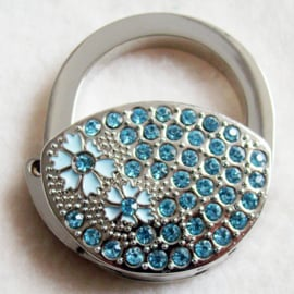 Tashaak tasvorm met strass lichtblauw - D10245