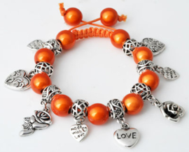 Shamballa armband met bedels oranje - S10803