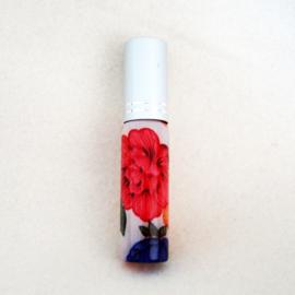 Parfumverstuiver met rode, oranje en paarse bloemen - D11599a