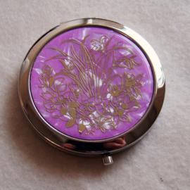 Make-upspiegel roze/goudkleur - D10910e