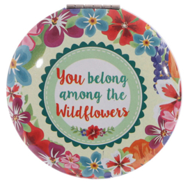 Make-up spiegel rond - you belong among the wildflowers - D12828b