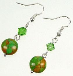 Oorbellen immitatie natuursteen groen - S10736