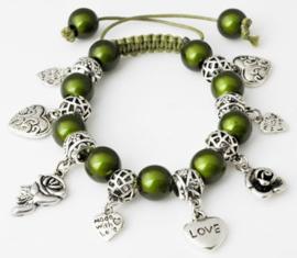 Shamballa armband met bedels olijfgroen - S10807