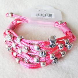 Armband gevlochten, roze - S11048