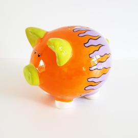 Spaarvarken oranje/lila/lime - WD00077d