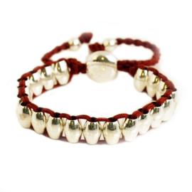 Lulu armband zilver/roodbruin - S11009