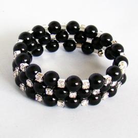 Armband zwarte parels met strass - S10871