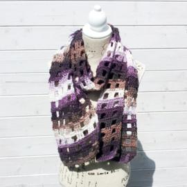 Window Pane sjaal paars/bruin/wit - H00040b