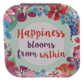 Make-up spiegel vierkant - Happiness blooms within - D12828d