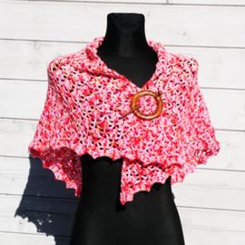 Elise omslagdoek oranje/roze/rood - TS0020