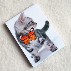 Notitieblokje poes met vlinder - D10614E