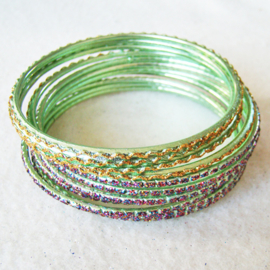 India Bangle armband groen/roze/geel - S11061