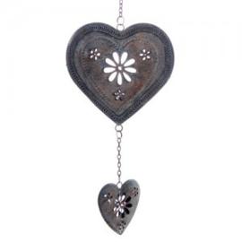 Hangend metalen hart in antiek-look, blauw - D11929b