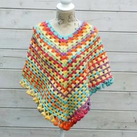 Kinderponcho 8-10 jaar, geel/oranje/roze/paars/blauw/groen - H00053