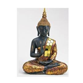 Zittende Thaise Boeddha met goudkleur - WD00056