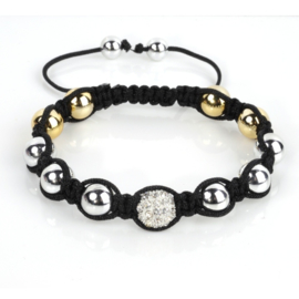Shamballa armband zilverkleur - S10795
