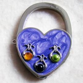 Tashaak hartvorm met steentjes paars - D10244