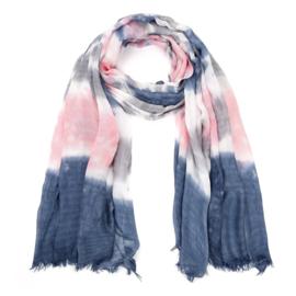 Sjaal blauw met roze - D14078