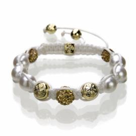 Shamballa armband creme/goudkleur - S10776