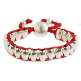 Lulu armband zilver/rood - S11007