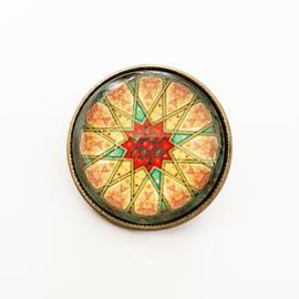 Broche mandala rood, groen, geel en roze - TSH00006