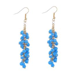 DIY sieradenpakketje oorbellen blauw met goudkleur