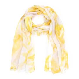 Sjaal tie dye geel wit - D14079
